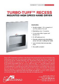 10-0135-2 Turbo-Tuff Recessed Automatic Hand Dryer Sell Sheet