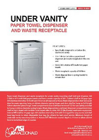 10-4004 Under Vanity Paper Towel Dispenser & Waste Receptacle Sell Sheet